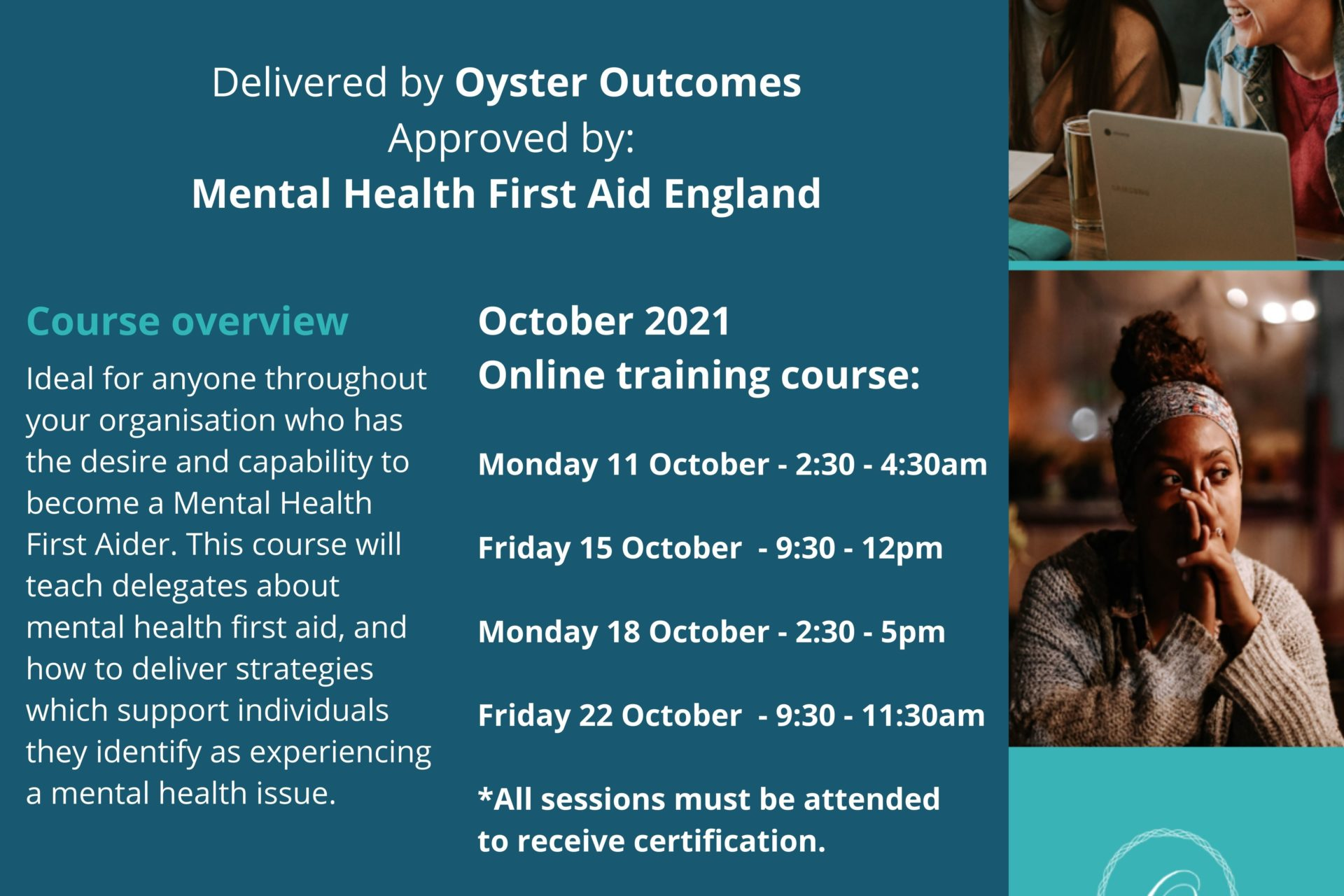 Online Mental Health First Aid Training – October 21